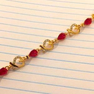 """Fashion bracelet gorgeous red and gold 7"""" NEW"""